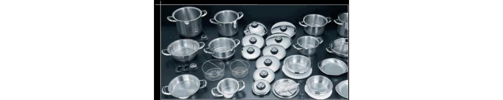 """Посуда для здоровья из нержавеющей стали с термоаккумулирующим дном и термодатчиком на крышки из Италии """"Веста-Престиж""""."""